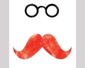 Mustache Art Print / 8x10 inches / original digital wall art print