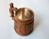 Reserved. Personalized Wooden Mug. Grooms gifts. Mug with engraving. Oak wood mug for cold and hot drinks. Handmade eco mug.