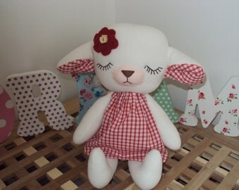 Sleeping Baby Lamb with Red Gingham fabric dress. Can be personalised