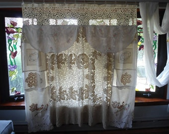 Shabby Chic Vintage Linen And Lace Shower Curtain