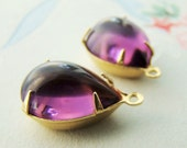 Vintage Transparent Purple  Amethyst Teardrop Jewels Beads Stones in 1 Ring Brass Setting - 2