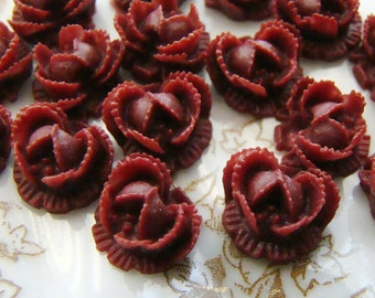 Ruffled Rose 10mm Flower Cabochon Burgundy Wine - 6