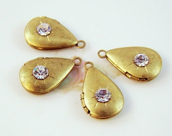 Vintage Brass Teardrop Lockets set with Swarovski Crystal Clear Rhinestones Charms - 4
