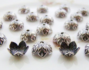 Antiqued Silver Flower Petal Leaf Bead Cap 8mm Oxidized Silver  - 6