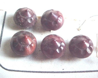 Antique Vintage Buttons - Dyed Vegetable Ivory - Pointed Ball Buttons - Set of 6 Small Reddish Brown Matching  - Original Card Mounting