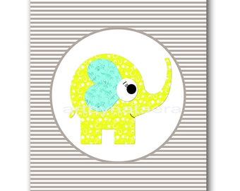 Elephant Nursery Baby Boy Nursery Art Decor Baby nursery print Kids Room children art print Nursery Print Boy Art elephant grey yellow