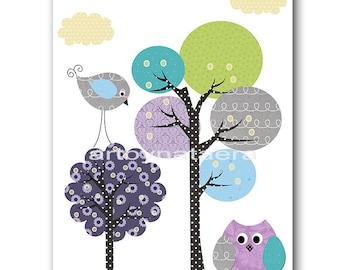 Owl Decor Tree Nursery Kids wall art Baby Nursery Decor Children Art Baby Boy Nursery Kids Art Baby Room Decor Nursery Print violet