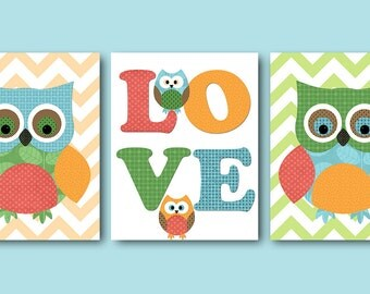 Kids Wall Art Owl Nursery Decor Owl Decor Baby Nursery Decor Baby Boy Nursery Kids Art Baby Room Decor Nursery Print set of 3 Green Blue