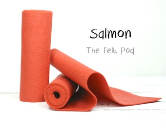 Wool Felt in color SALMON - 100% Wool Felt - Pure Wool Felt - Merino Wool - 100 Percent Wool Felt