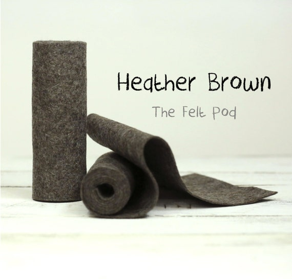 "100 Percent Wool Felt Roll in color HEATHER BROWN - 5"" X 36"" Wool Felt Roll - Merino Wool Felt"