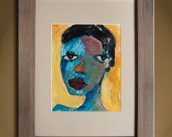 Oil Painting Modern Original Art  Abstract Portrait FRAMED
