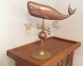 Vintage Brass and Copper Whale Weather Vane