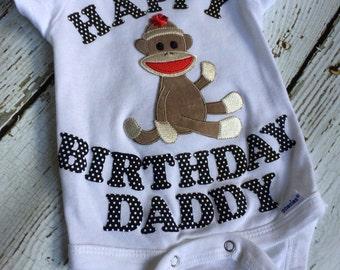 Happy Birthday Daddy onesie - sock monkey onesie - sock monkey outfit