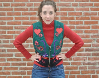 Ugly Christmas Sweater Vest With Hearts, Ribbon, Holly, and Cheer Size S/M