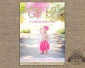 First Birthday Invitation - Gold Glitter One - Printable Invitation - Girl First Birthday Invite - ANY Colors ANY Text -  Photo Invitation