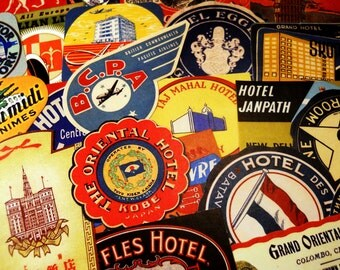 Luggage Labels - 24 Reproduction Vintage Travel Labels & Suitcase Stickers, International Hotel and Airline Stickers, Vintage Ephemera Pack