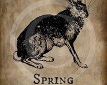 Primitive Spring 1803 Hare Bunny Rabbit  Print Jpeg Digital  Image Feedsack Logo for Pillows Labels Hang tags Magnets Ornies