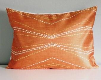 Orange Zig Zag Pillow Covers, Chevron Decorative Pillow, Zig Zag Lumbar pillows
