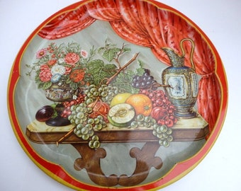 Vintage Metal Tray Daher Large Round Fruit and Floral Still life picture 1960s