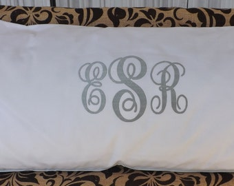 Monogrammed Body Pillow Cover, embroidered body pillow cover, custom pillow cover