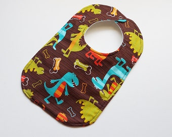 Designer Boy Baby to Toddler Bib -  Dino Dudes Dinosaurs - One of a Kind - Ready to Ship