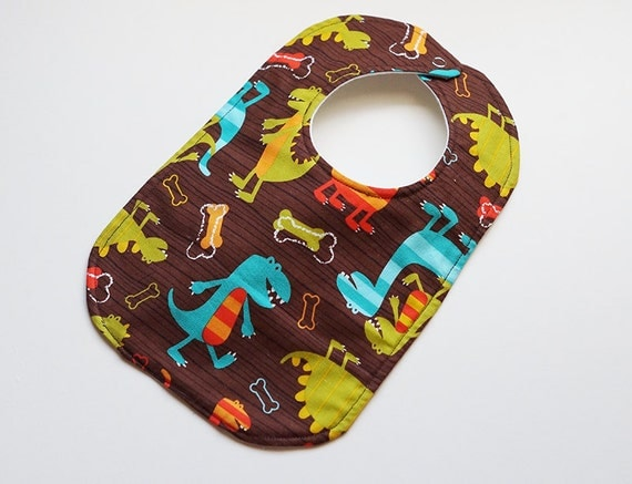 On Sale, Save 25% - Designer Boy Baby to Toddler Bib -  Dino Dudes Dinosaurs - One of a Kind - Ready to Ship