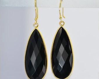 Elongated black onyx earrings - mothers Day gift - bezel set stones - large drop earrings - long gold earrings, dangle earrings, gemstone