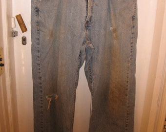 Levi's 569 distresssed ripped jeans straight fit waist 39 grunge