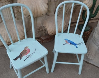 Made To Order Painted Pair Vintage Bentwood Or Wood Chairs By Jessica,  Robin U0026 Bluebird