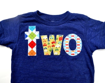 Cars birthday shirt Boys 2nd Birthday Shirt Birthday Tshirt two in Argyle Cars Pez indigo blue yellow primary colors 2 year old second