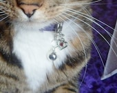 Holiday kitten pet charm; zipper pull; January garnet birthstone charm; purse accessory