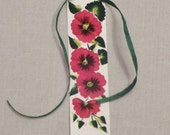 Poppy bookmark; flower bookmark; hand painted paper bookmark