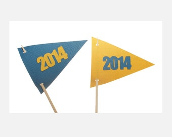 Graduation Flag Cupcake Toppers - 2014 Cupcake Toppers - School Colors Cupcake Toppers