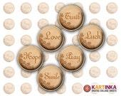 LOVE DREAM HOPE - 15mm, 12mm, 10mm size Printable Digital Download for earrings cuff links pendants bracelets rings Digital Collage Sheet