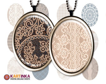 30x40mm, 18x25mm, 13x18mm size images LACE ON CANVAS Digital Collage Sheet Printable download for earrings bezel cabs trays pendant settings