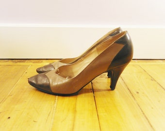 Vintage 70 beige and brown stilettos