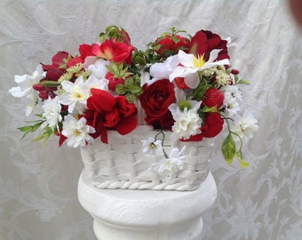 Silk Floral Holiday Gift for Her Home Decor Christmas Gift Arrangement