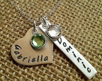 Custom Mom Necklace - Personalized Grandma Necklace with Swarovski Crystal Channel Charms