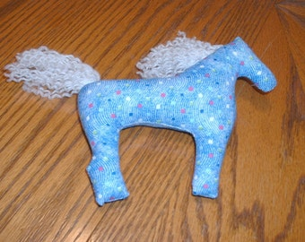 Whimsical horse in blue