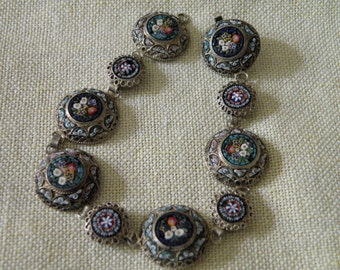Fine Vintage Sterling Silver Micro Mosaic Floral Bracelet - 6 5/8 inch