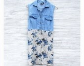 Chambray and Floral 90s Grunge Mini Dress