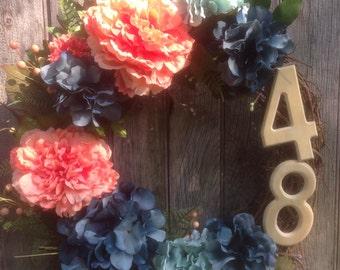 Address Number Wreath, Grapevine Wreath, House Number Wreath, Front Door Wreath, Outdoor Wreath,  Coral,Teal Blue, Hydrangea Wreath