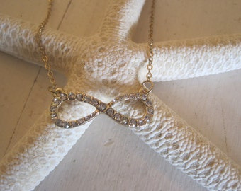 Gold Rhinestone Infinity Necklace - Infinity - Rhinestone Infinity Necklace - Medium Sized