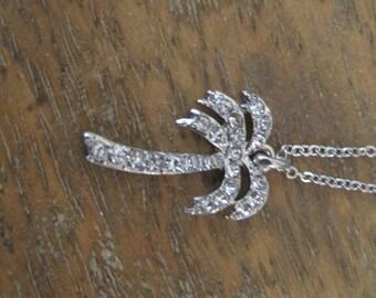 Silver Palm Tree Necklace - Rhinestone Palm Tree Necklace