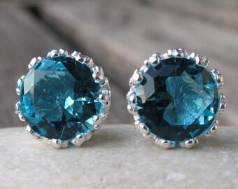 Lovely Topaz Studs-Blue Topaz Studs-Quartz Stud Earrings-Stone Post Earrings-Gemstone Studs-Silver Stud Earrings-Bezel Studs-Stone Studs