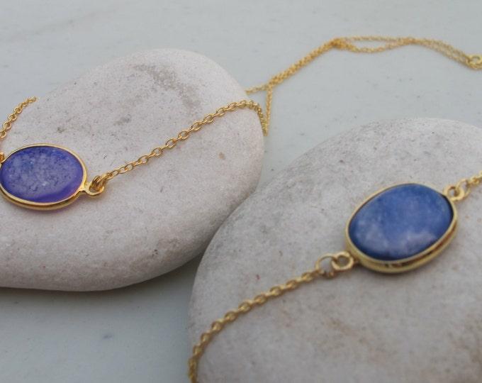Oval Blue Druzy Bracelet Necklace Set- Blue Druzy Jewelry Set- Blue Gemstone Necklace Bracelet- Blue Druzy Jewelry Set- Simple Stone Jewelry