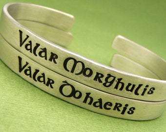 Game of Thrones Inspired - Valar Morghulis and Valar Dohaeris - Set of 2 Hand Stamped Bracelets in Aluminum or Sterling Silver