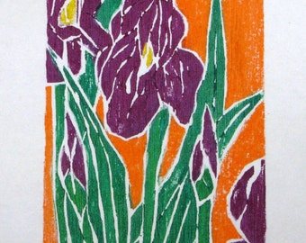 IRIS COLOR WOODCUT Limited Edition 10 of 200 Original Wood Block Print by Artist Lawrence J. Goldsmith