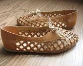 Vintage Summer Sandals - Vintage Leather Oxfords - Summer Flats