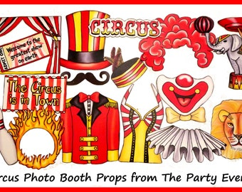 Circus Photo Booth Props perfect for your Carnival style party, a Circus Clown show or simply if you love the Circus